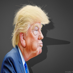profile of the Donald with a long-nosed shadow