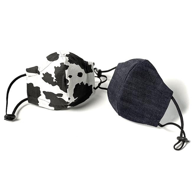 Face Cover: Denim/Cow Reversible