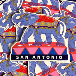 San Antonio Elephant Vinyl Sticker