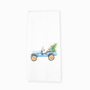 Christmas Jeep Tea Towel