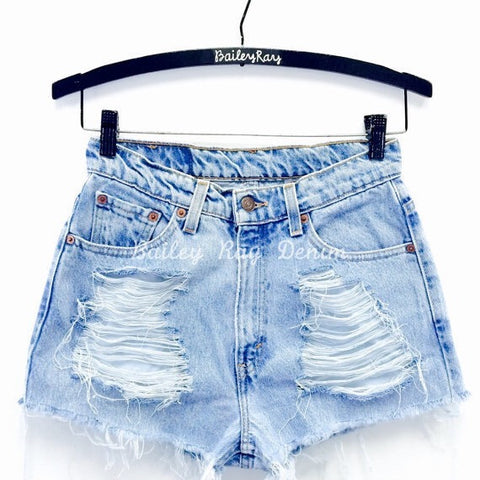 Bailey Ray and Co Destroyed High Waisted Denim Shorts - The Emily on hanger
