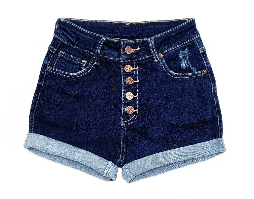 Star stitched Pockets - High Waisted Denim Shorts  - The Francis - Stretchy