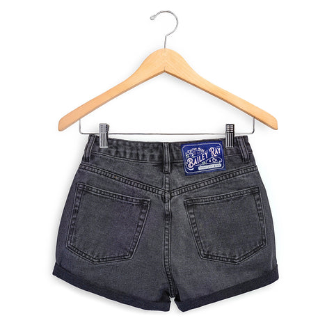 Black High Waisted Denim Shorts  - The Moody