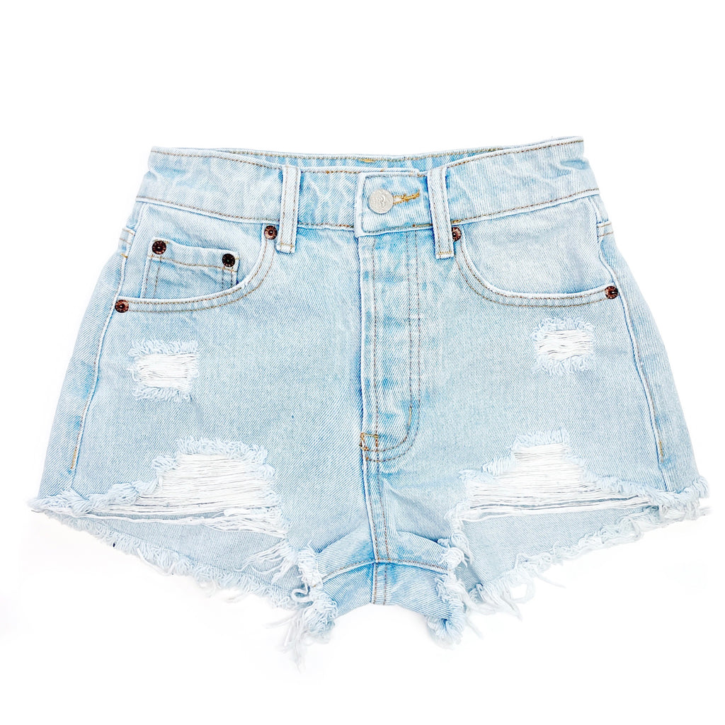 Distressed High Waisted Denim Shorts  - The Clementine