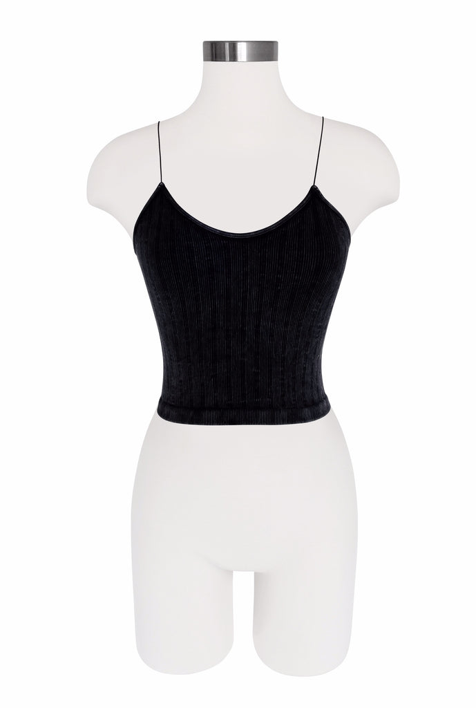 Seamless String Strap Tank - Vintage Wash - Charcoal