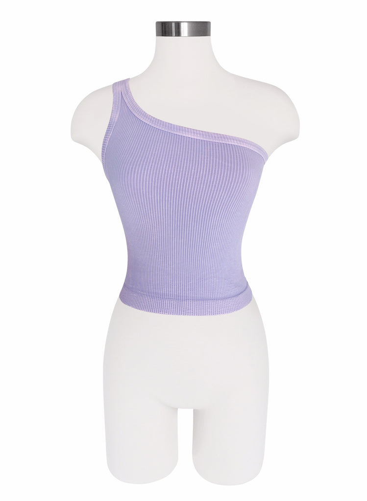 Seamless One Shoulder Tank - Vintage Wash - Lavender