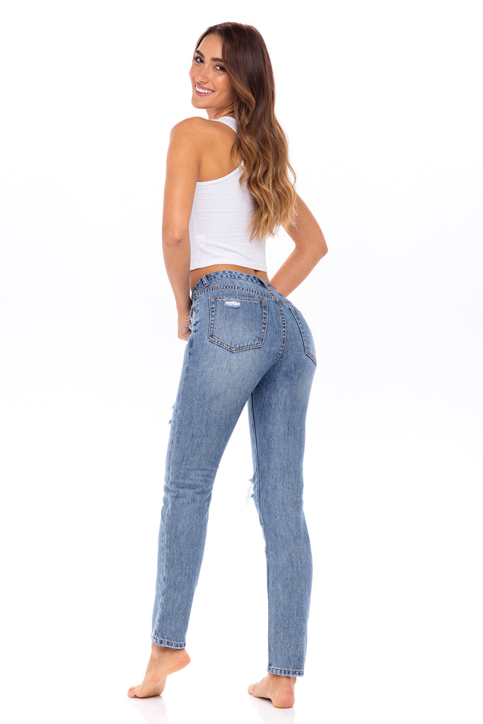 Distressed High Waisted Jeans  - The Petunia
