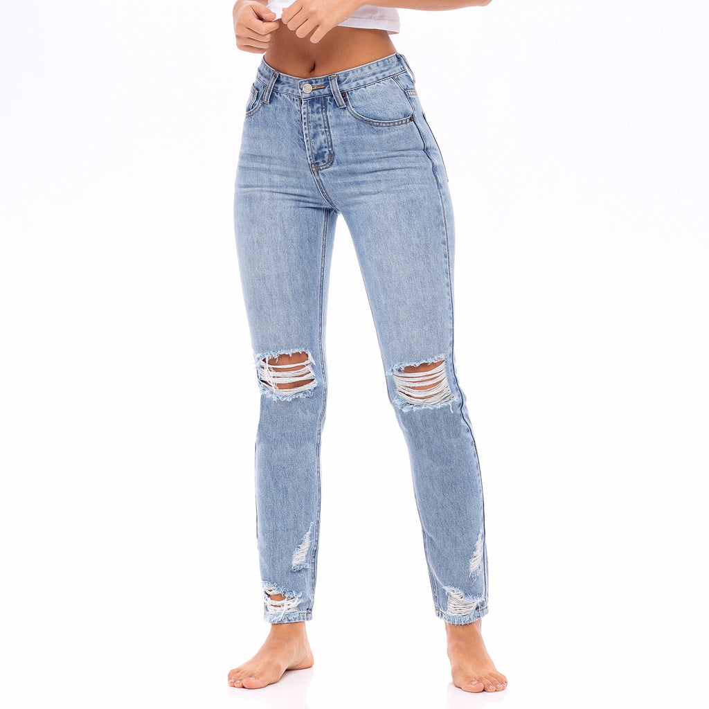 Star Stitched Pockets - Distressed High Waisted Jeans  - The Zinnia