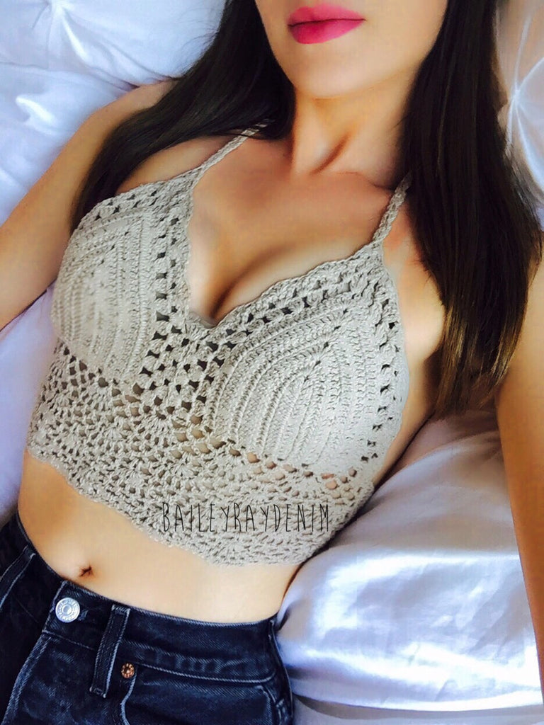Beige Crochet Festival Top Bailey Ray And Co
