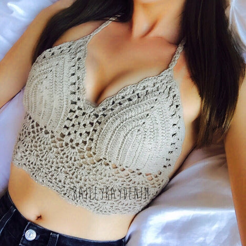 Bailey Ray and Co Beige Crochet Festival Top
