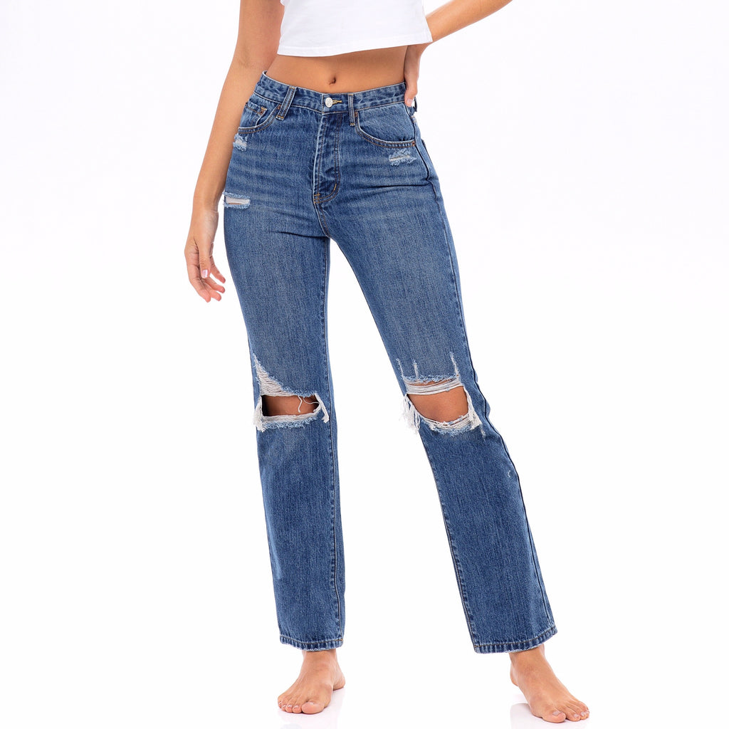 Medium Wash, Distressed High Waisted Jeans - The Tulip