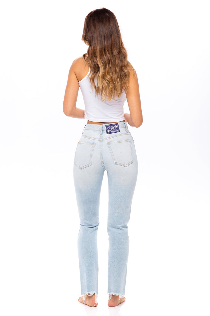 Light Wash, Distressed High Waisted Jeans - The Daisy
