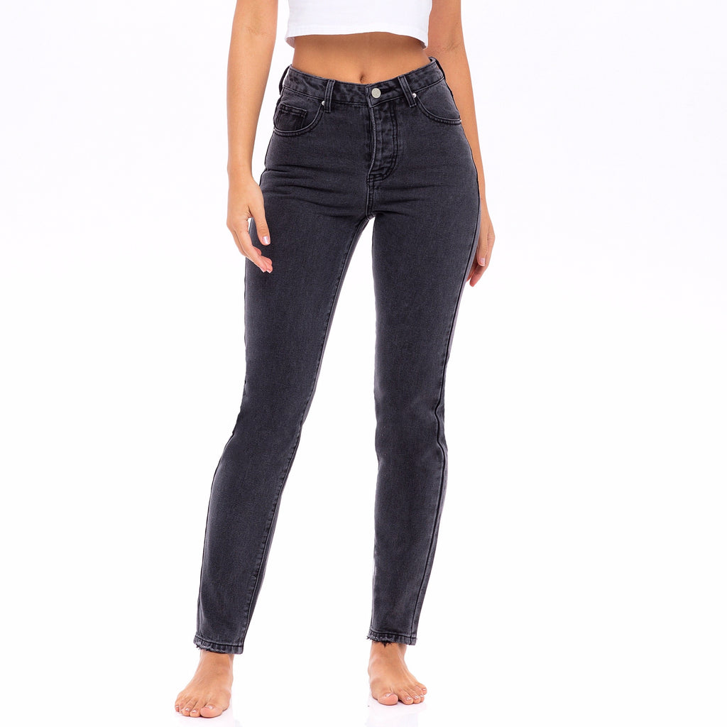 Faded Black Wash,  High Waisted Jeans  - The Marigold