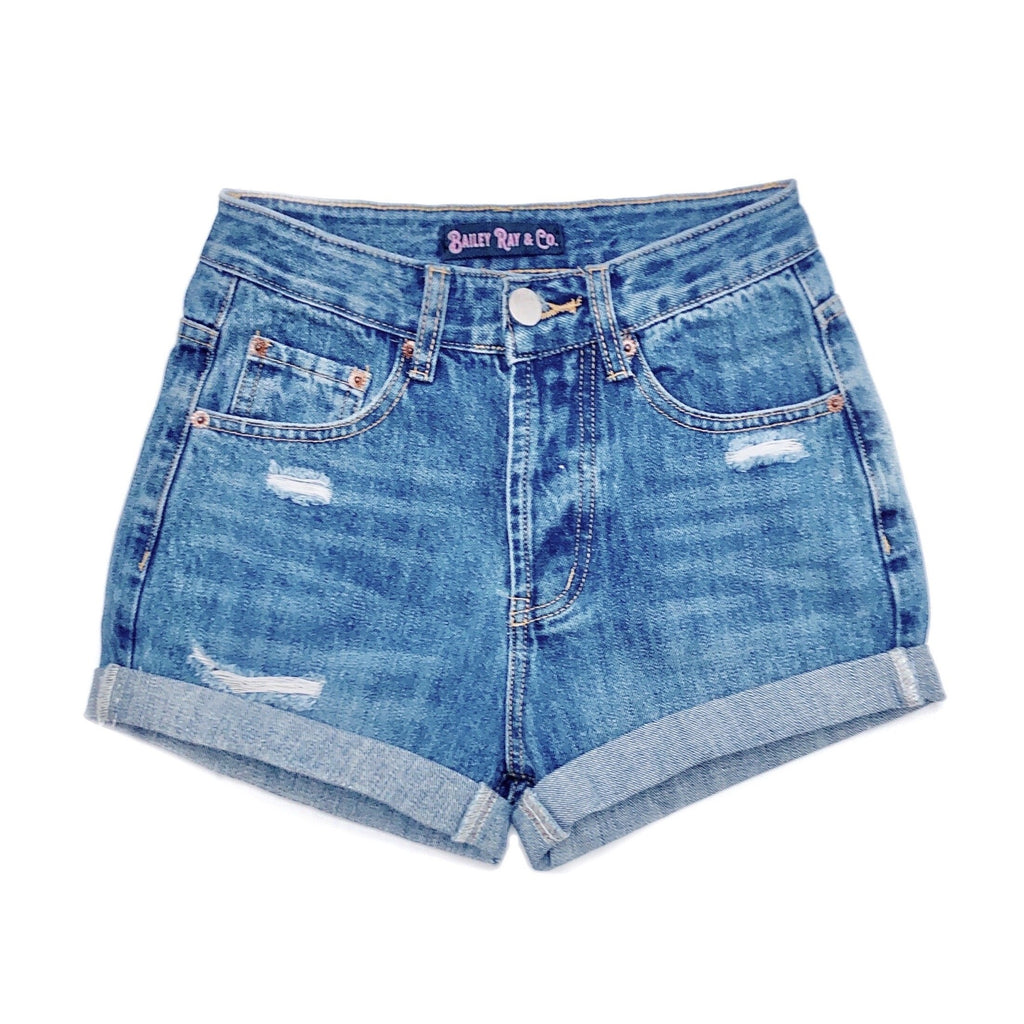 Lightly Distressed High Waisted Denim Shorts  - The Evelyn