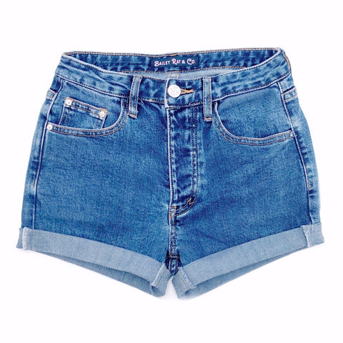 Stretch High Waisted Denim Shorts  - The Sadie