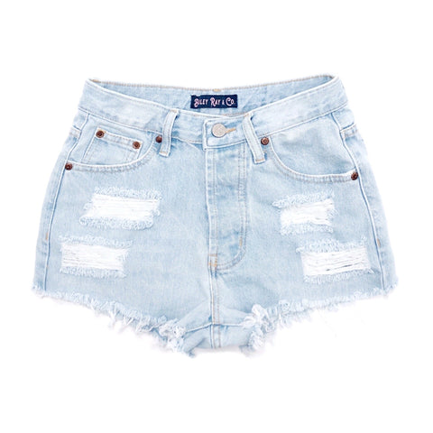 Light Wash, Distressed  High Waisted Denim Shorts  - The Remi