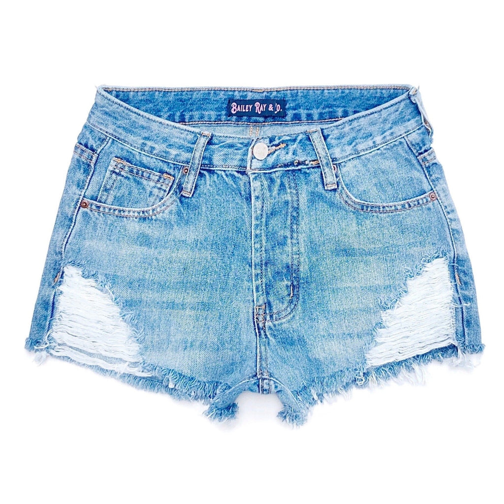Distressed High Waisted Denim Shorts  - The Annabelle