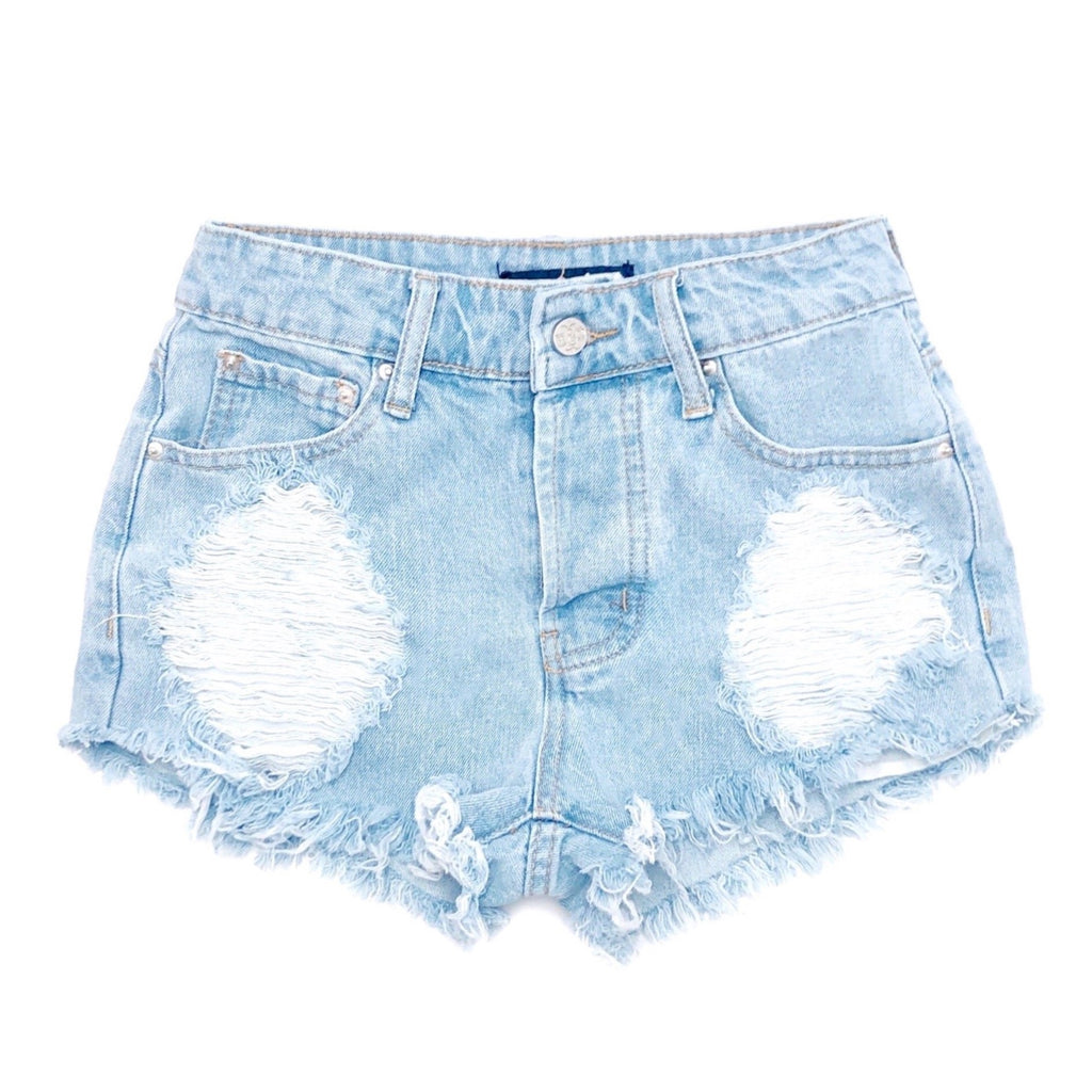 Distressed High Waisted Denim Shorts  - The Emily