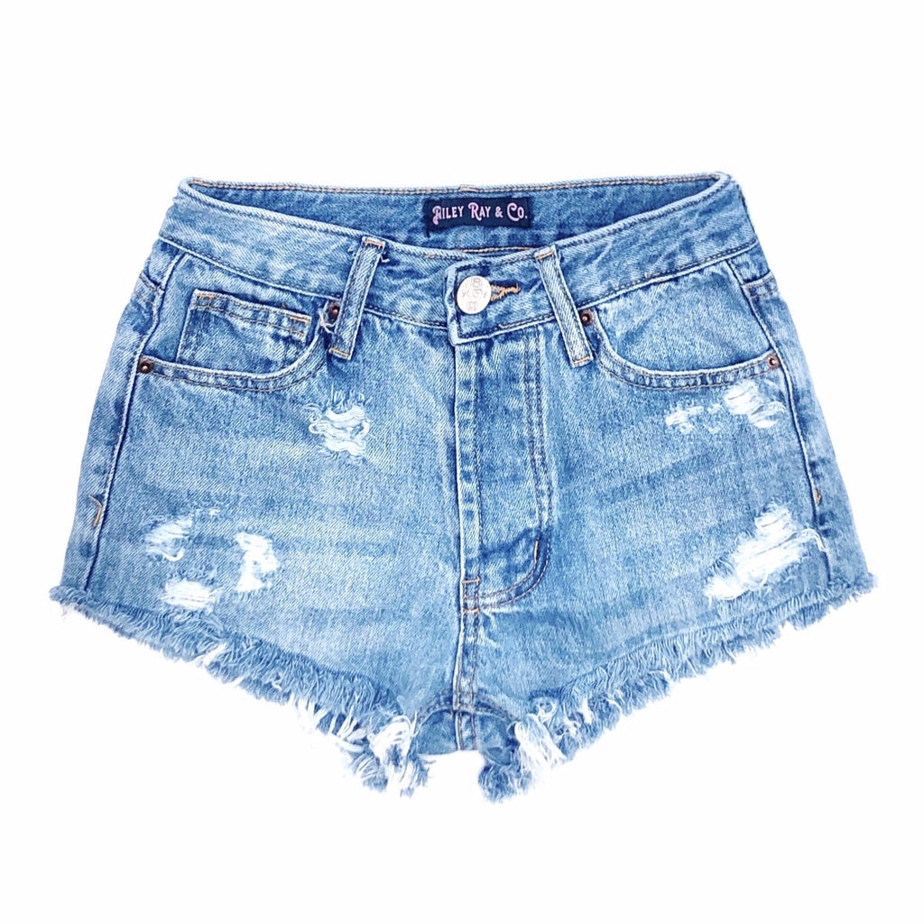 Distressed High Waisted Denim Shorts  - The Bailey