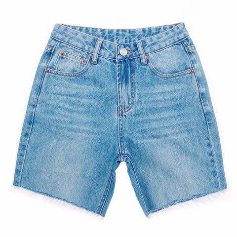 Biker Cut High Waisted Denim Shorts  - The Mona