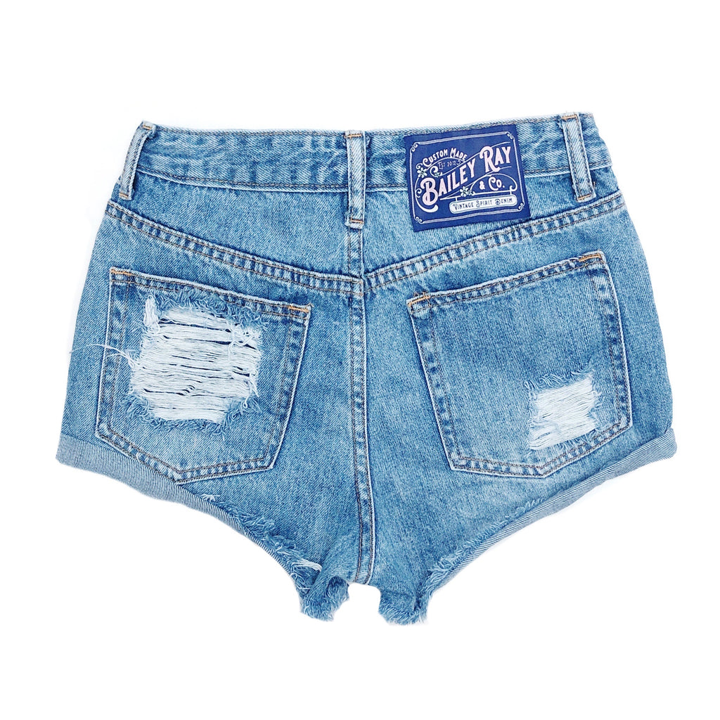 Distressed High Waisted Denim Shorts  - Outer Rolled - The Nova
