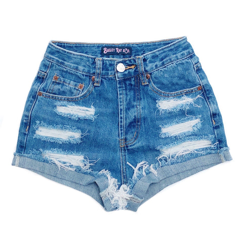 Distressed High Waisted Denim Shorts  - The Mackenzie