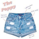 Distressed High Waisted Denim Shorts  - The Poppy