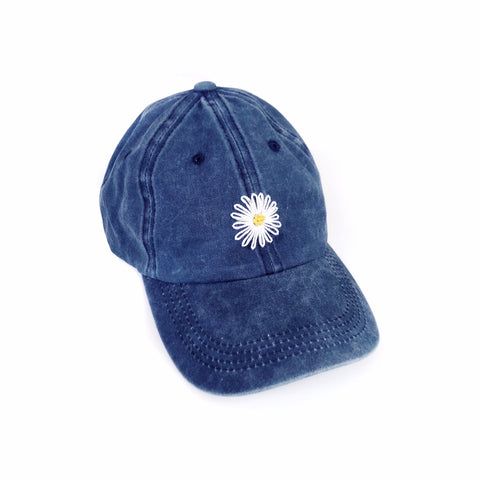 Hand Embroidered Daisy Baseball Hat - Navy