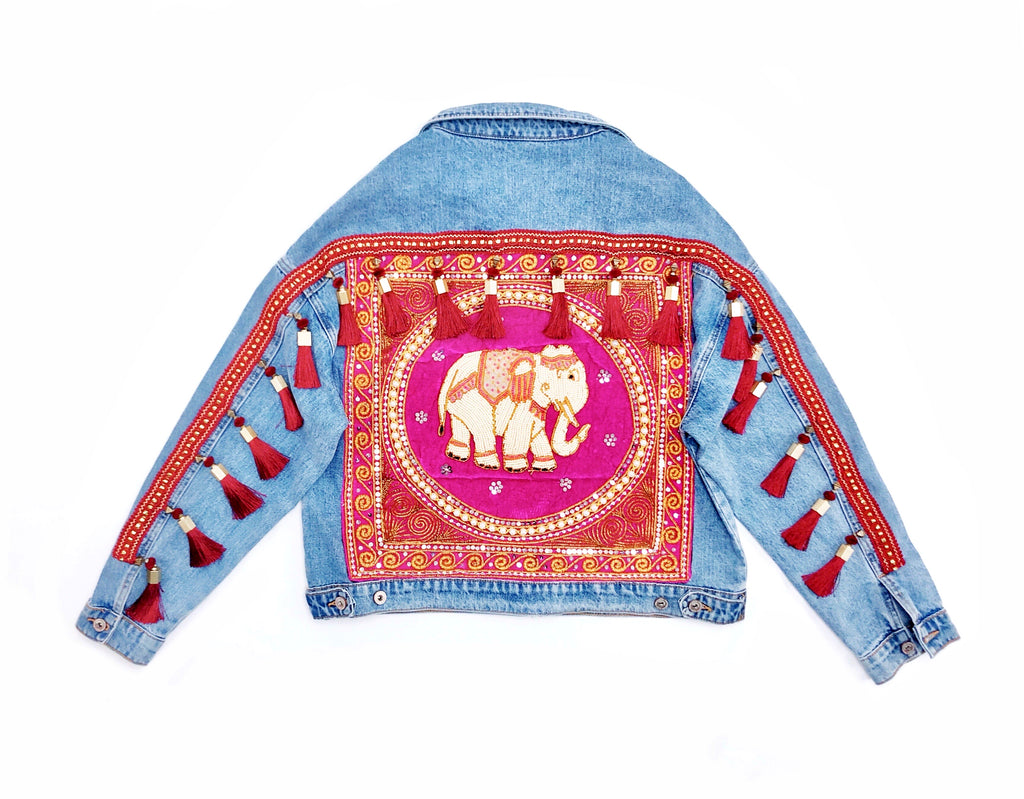 Embellished Denim Jacket with Tassels - Pink Elephant - Oversized