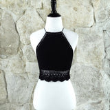 Bailey Ray and Co Black High Neck Crochet Top on manikin