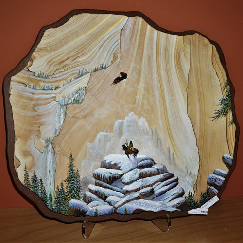 Southwest Winter Scene Painted On Sandstone