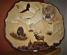 Hand Painted Animals On Sandstone Bear Eagle Elk Mountain Lion