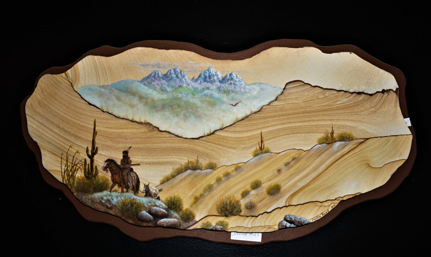 Hand Painted Southwest Scene On Sandstone