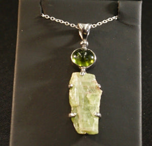 Idocrase And Green Kyanite Sterling Silver Necklace