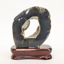 Blue Gray Agate On Wood Base