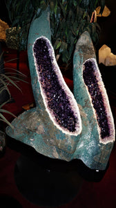 Large Amethyst Rough Geode Twins Rare Mineral Decor
