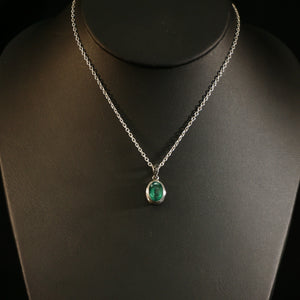 Brilliantly Green Petite Emerald Pendant On Necklace