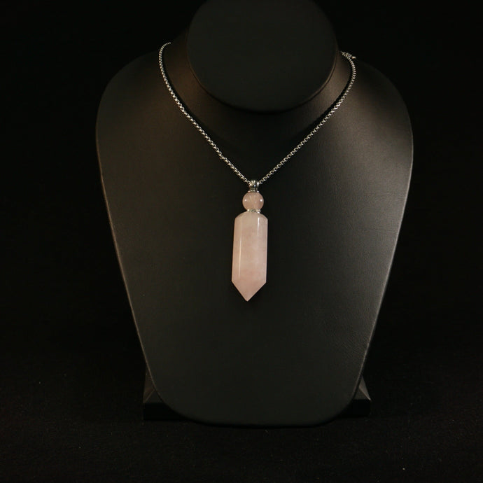 Rose Quartz Perfume Bottle Necklace