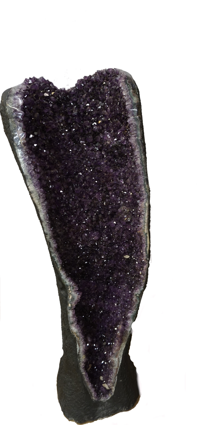 Tall Amethyst Geode With Crystal Clusters