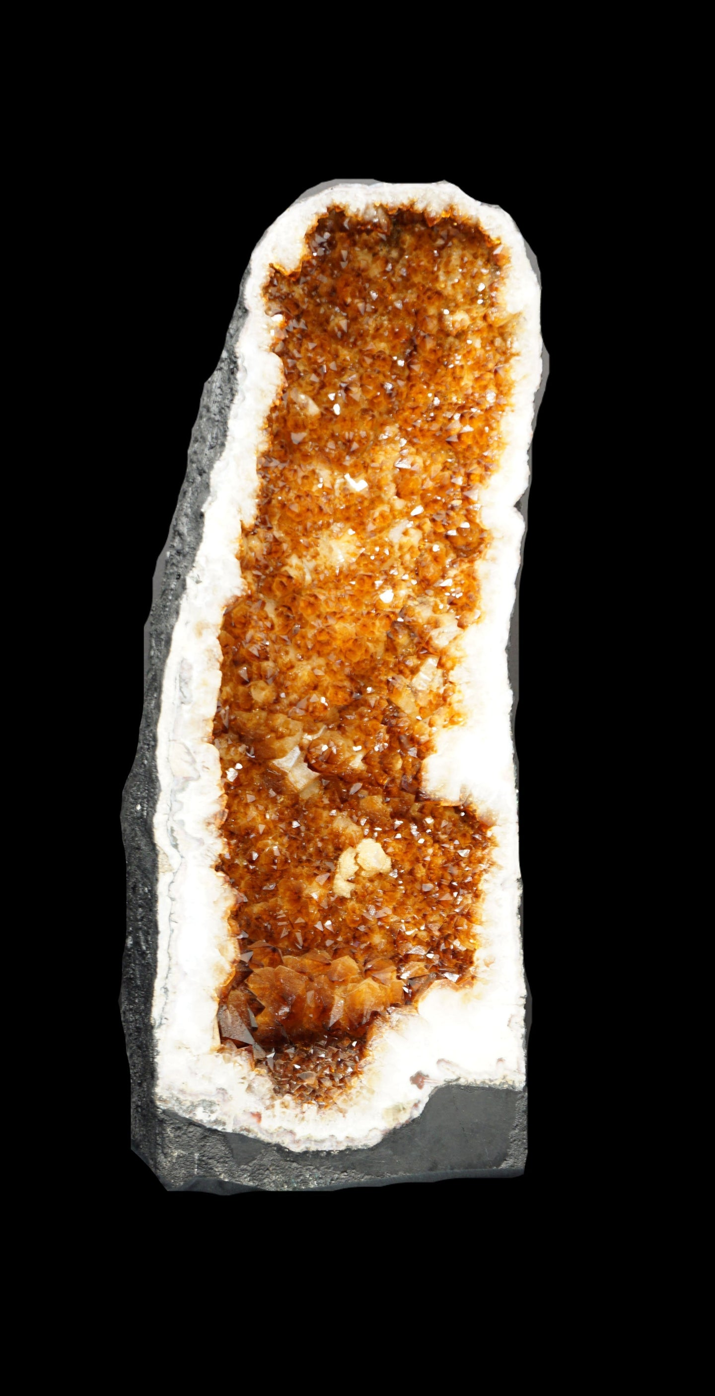 Amber, Brown, Orange Crystal Citrine Geode