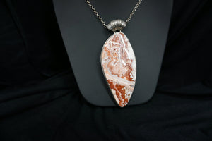 Large Lace Agate Pendant On Chain