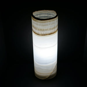 Lighted Onyx Cylinder Table Lamp