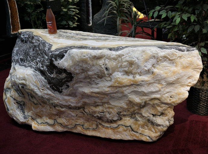 Poolside Bar Solid Carved Phantom Calcite