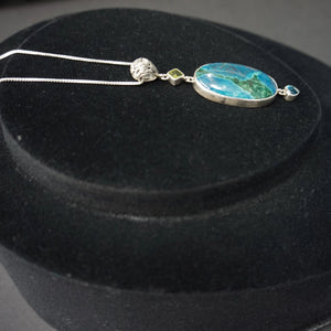 Apatite Blue Topaz Peridot Pendant And Sterling Silver Chain