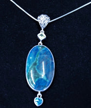 Silver Multi Stone Pendant And Chain