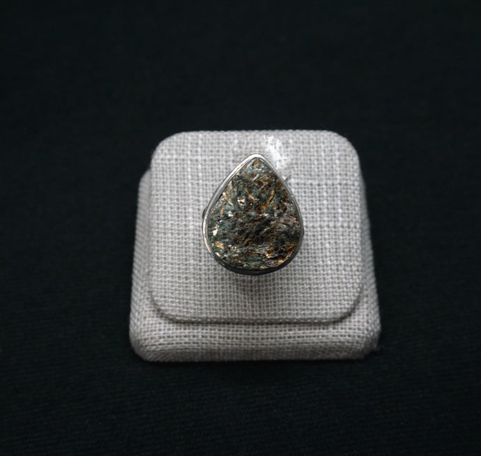 Unique Boho Ring Trophylite Sterling Silver Pear Shape Stone