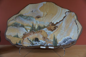 Southwest Art Painted Sandstone Bear And Cub Mountain Winter Rustic Decor #18