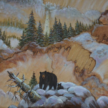 Close Up of Bear Painted On Sandstone