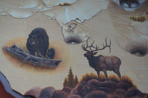 Close Up Bear Elk Painted On Sandstone