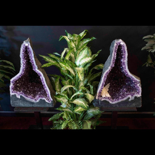 Amethyst Geode Pair Purple Luxury Decor Accent Decorating With Crystals And Stones